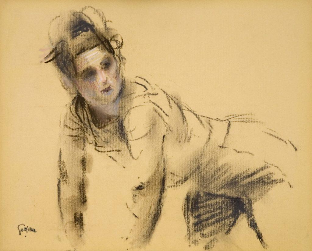 Kruipende vrouw - pastel op papier - 24x30cm