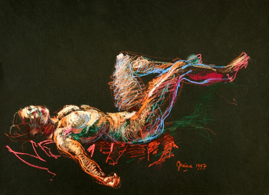 Nacht, liggend naakt - pastel op papier - 29x40cm
