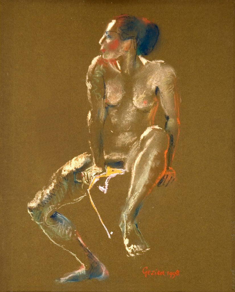 Zittende vrouw - pastel op bruin papier - 29x20cm
