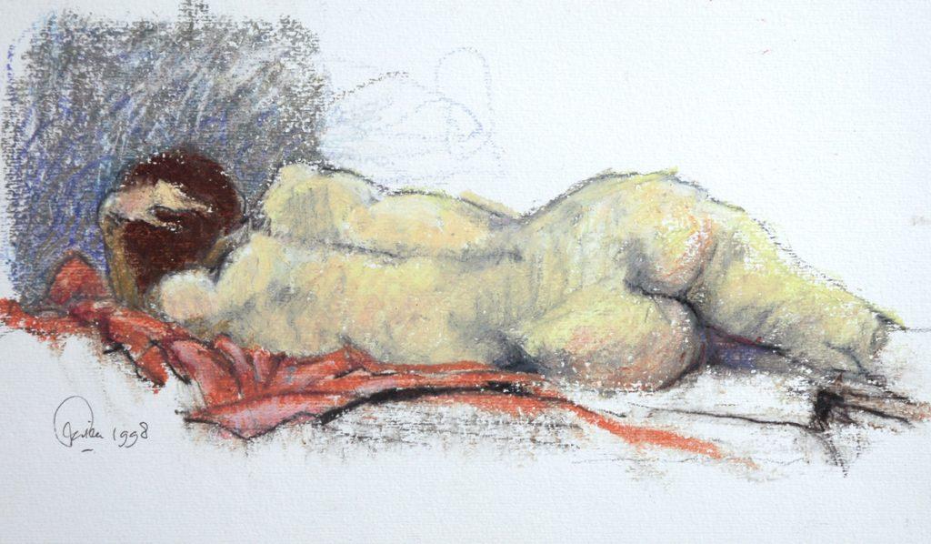 Liggende vrouw op de rug gezien - oliepastel op papier - 18x30cm