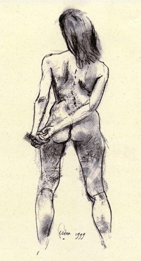 Liliane staand, op de rug gezien - pastel op papier - 31x23 cm
