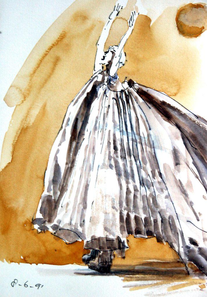 Danser - aquarel en pen op papier - 21,5x15cm