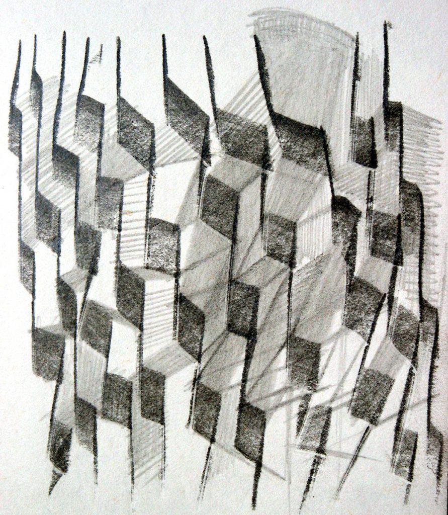 Echt abstract - potlood op papier - 15x11cm