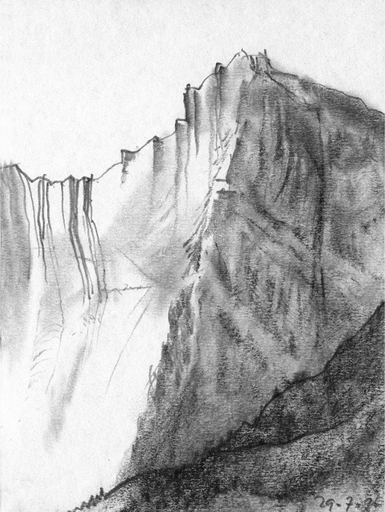 Franse Alp - potlood op papier - 15x11cm