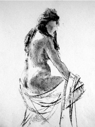 Zittend naakt van opzij gezien, houtskool tekening door Gezien