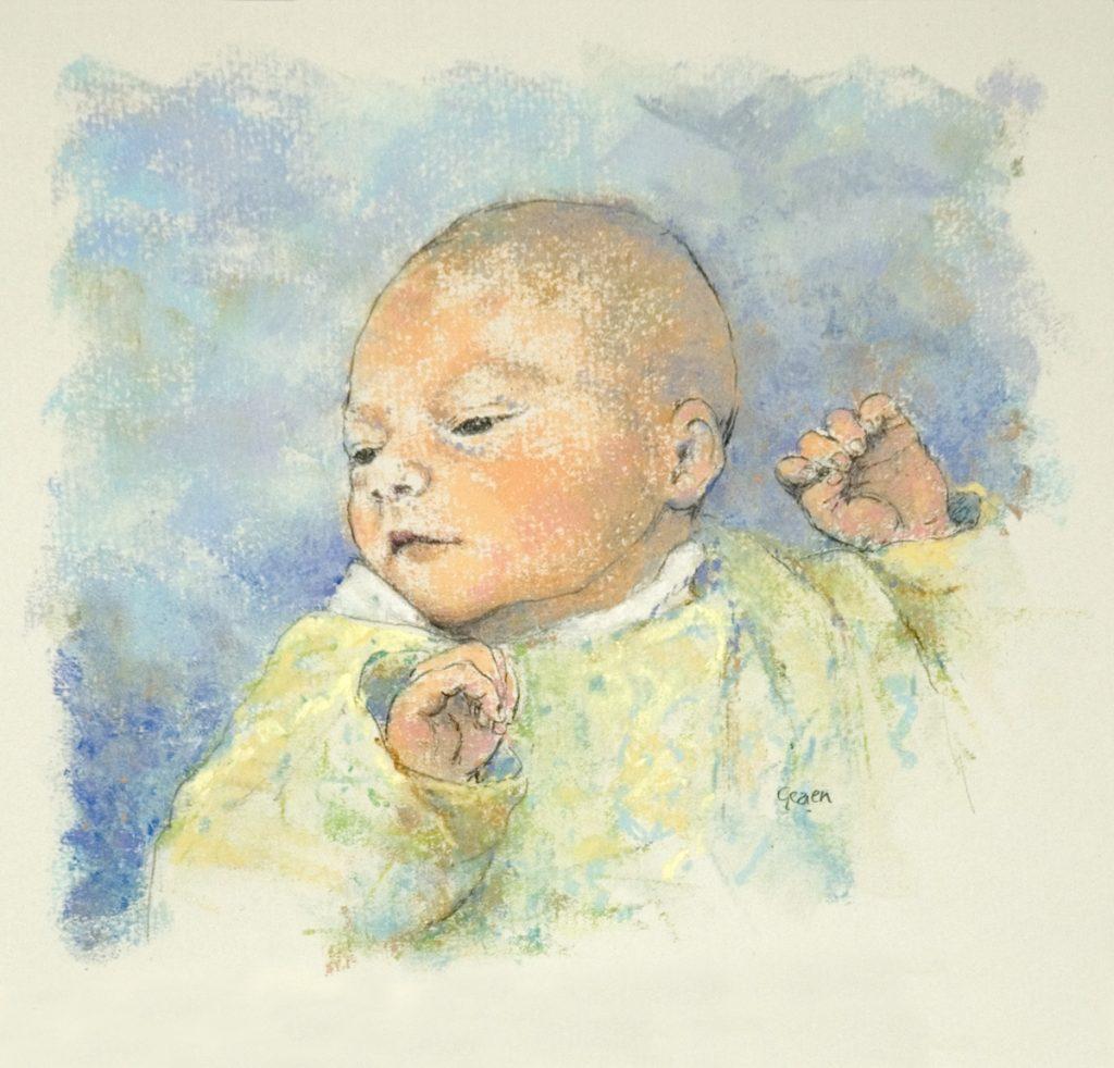 Portret Djuri - Potlood en pastel op papier - 17x20cm