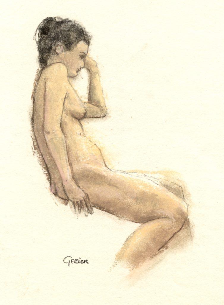 Leela, model ststudie - pastel op papier - 23x17cm