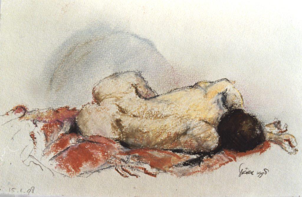 Liggende vrouw - Oliepastel op papier - 15x27 cm