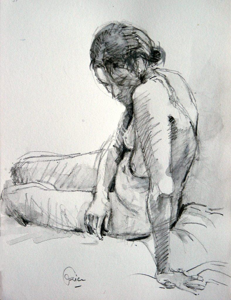 Zittende vrouw van opzij gezien - Aquarelpotlood op papier - 24x18 cm
