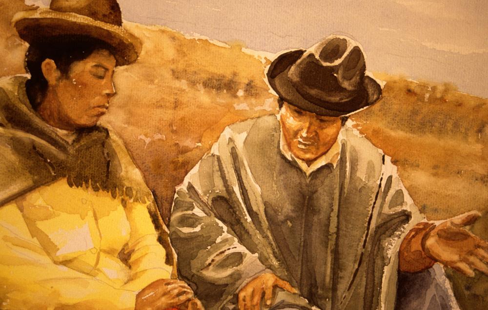illustratie van Aymara echtpaar in Bolivia
