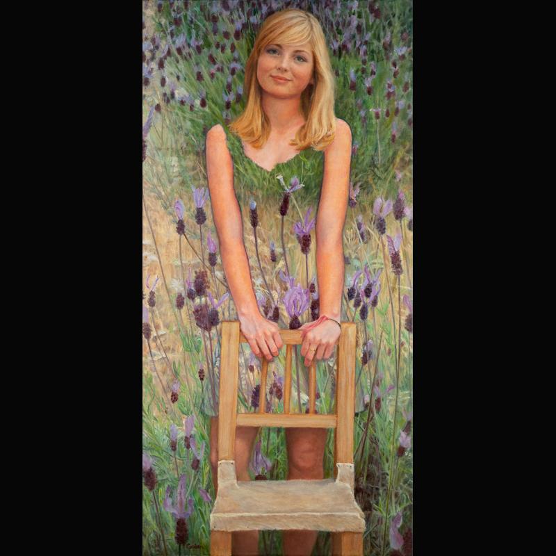 schilderij van Tessa in tempera olieverf door Gezien