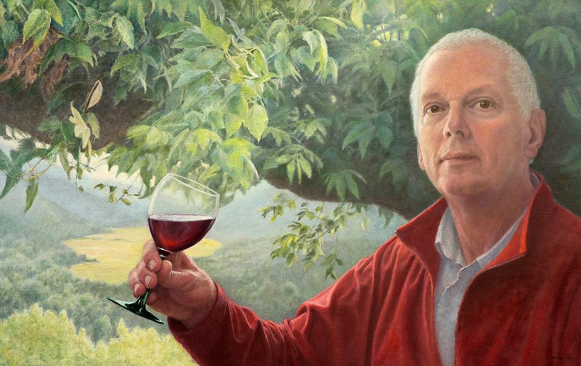 olieverf portret van Jeroen met glas wijn